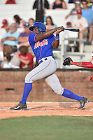Kingsport Mets catcher Darryl Knight (22) swings at a pitch during a game against the  Johnson City Cardinals on June 25, 2015 in Johnson City, Tennessee. The Mets defeated the Cardinals 10-8 (Tony Farlow/Four Seam Images)