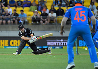 Kane Williamson bats during the One Day International cricket match between NZ Black Caps and India at Westpac Stadium in Wellington, New Zealand on Sunday, 3 February 2019. Photo: Dave Lintott / lintottphoto.co.nz