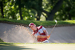 SUGAR GROVE, IL - MAY 31: Brad Dalke of the University of Oklahoma hits out of the sand trap during the Division I Men's Golf Team Championship held at Rich Harvest Farms on May 31, 2017 in Sugar Grove, Illinois. Oklahoma won the team national title. (Photo by Jamie Schwaberow/NCAA Photos via Getty Images)