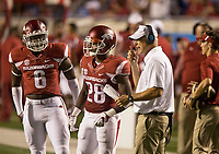 Hawgs Illustrated/BEN GOFF <br /> Gabe Richardson (6), Arkansas linebacker, and freesafety Josh Liddell confer with defensive coordinator Paul Rhoads during the 4th quarter against Florida A&M Thursday, Aug. 31, 2017, during the game at War Memorial Stadium in Little Rock.