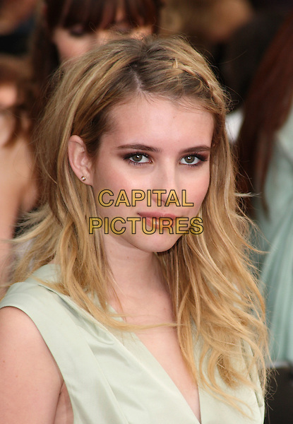 EMMA ROBERTS.Arrivals to the 'Sex And The City 2' European Premiere at the Odeon, Leicester Square, London .May 27th, 2010.headshot portrait plait braid sleeveless pale green .CAP/JIL.©Jill Mayhew/Capital Pictures