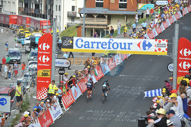 Richie Porte (AUS) Team Sky suffers from sickness and crosses the finish line 7'38&quot; down at Saint-Lary Pla d'Adet during Stage 17 of the 2014 Tour de France running 124.5km from Saint-Gaudens to Saint-Lary Pla d'Adet. 23rd July 2014.<br /> Photo ASO/G.Demouveaux/www.newsfile.ie