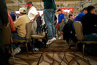 Ross Mallor, 29, from NYC jumps up in the air as he competes at the 36th annual World Series of Poker at the Rio on Sunday July 10, 2005 in Las Vegas, Nevada. Saturday marked day 4 of the no-limit Texas hold'em main event. Approximately 5,600 players are competing for a chance to win the first-place prize of roughly $7.5 million. (Photo by Landon Nordeman/ Getty Images)