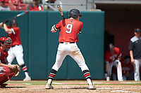 Charlie McConnell (9) of the Northeastern Huskies at bat against the North Carolina State Wolfpack at Doak Field at Dail Park on June 2, 2018 in Raleigh, North Carolina. The Wolfpack defeated the Huskies 9-2. (Brian Westerholt/Four Seam Images)