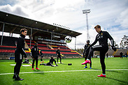 OSTERSUND, SWEDEN - MAY 15: Bakr Abdellaoui of Ostersunds FK and Pontus Kindberg of Ostersunds FK during the Ostersunds FK training session at Jamtkraft Arena on May 15, 2020 in Ostersund, Sweden. Despite the Coronavirus (COVID-19) pandemic, Ostersunds FK have restarted their training sessions. (Photo by David Lidström Hultén/LPNA)