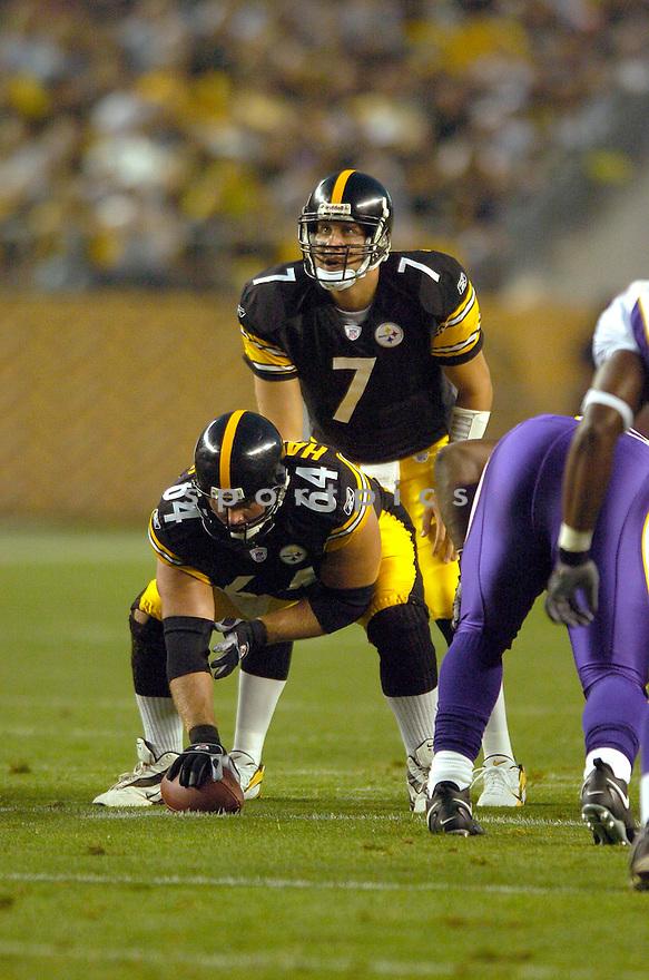 Ben Roethlisberger, of the Pittsburgh Steelers, in action against the Minnesota Vikings  on August 19, 2006, in Pittsburgh...Vikings win 17-10..David Durochik / SportPics