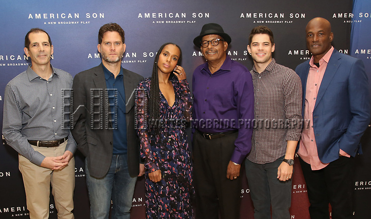"The American Son team: playwright Christopher Demos-Brown, cast members Steven Pasquale, Kerry Washington, Eugene Lee,  Jeremy Jordan, and director Kenny Leon. attend the Cast photo call for the New Broadway Play ""American Son"" on September 14, 2018 at the New 42nd Street Studios in New York City."