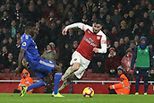 29th January 2019, Emirates Stadium, London, England; EPL Premier League Football, Arsenal versus Cardiff City; Bruno Ecuele Manga of Cardiff City fouls Sead Kolasinac of Arsenal and gives away a penalty in 65th minute