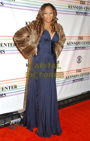 YOLANDA ADAMS.30th Kennedy Center Honors Recipients honored for lifetime achievement in the performing arts held at the Kennedy Center for the Performing Arts, Washington, D.C. .USA, 02 December 2007..full length blue dress brown fur coat.CAP/ADM/LF.©Laura Farr/AdMedia/Capital Pictures.