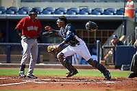 GCL Rays catcher Rafelin Lorenzo (8) retrieves a blocked pitch as designated hitter Isaias Lucena (15) bats during the first game of a doubleheader against the GCL Red Sox on August 4, 2015 at Charlotte Sports Park in Port Charlotte, Florida.  GCL Red Sox defeated the GCL Rays 10-2.  (Mike Janes/Four Seam Images)