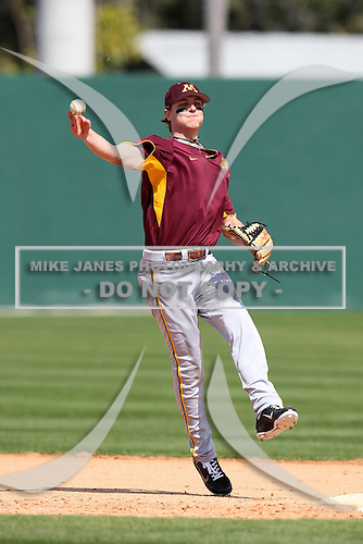 Second baseman Drew Hanish #8 of the Minnesota Golden Gophers during the Big East-Big Ten Challenge vs. the St. John's Red Storm at Jack Russell Memorial Stadium in Clearwater, Florida;  February 18, 2011.  St. John's defeated Minnesota 14-1.  Photo By Mike Janes/Four Seam Images