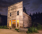 Kelly's Saloon at Night - Garnet Ghost Town, MT