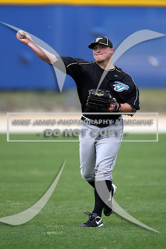 March 29, 2010:  Outfielder Aaron Mathews of the Toronto Blue Jays organization during Spring Training at the Englebert Minor League Complex in Dunedin, FL.  Photo By Mike Janes/Four Seam Images