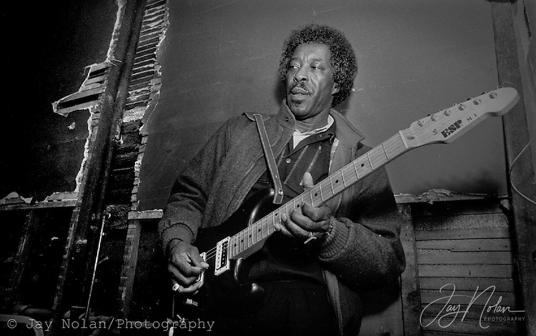 Blues guitarist Buddy Guy warming up before a show in St. Paul, Minnesota. circa 1990's.