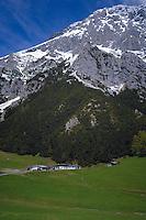 Farm buildings below snow capped mountain. Hahntennjoch pass,  Imst district, Tyrol, Tirol, Austria.