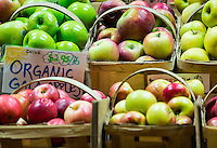 Fresh organic apples at a farm market.