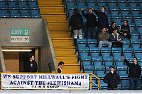 The Association of Millwall Supporters make a statement with a protest banner on 'The Docker's Stand' with the words 'We support Millwall's Fight against the Lewisham4' during Millwall vs Preston North End, Sky Bet EFL Championship Football at The Den on 13th January 2018