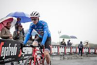 Maglia Azzurra / KOM leader Giulio Ciccone (ITA/Trek-Segafredo) atth estart of a super rainy stage 5<br /> <br /> Stage 5: Frascati to Terracina (140km)<br /> 102nd Giro d'Italia 2019<br /> <br /> ©kramon