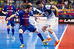 Barcelona Lassa Dyego Henrique and R. Renov. Zaragoza Carlos Garcia during Futsal Spanish Cup 2018 at Wizink Center in Madrid , Spain. March 16, 2018. (ALTERPHOTOS/Borja B.Hojas)