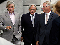 August 12, 2012 File Photo - Montreal (Quebec) CANADA -   <br /> Montreal upcoming 375th anniversary<br /> Preparation du 375 ieme anniversaire de Montreal<br /> <br /> Gilbert Rozon (L), Jacques Parisien (M) Gerald Tremblay (R)