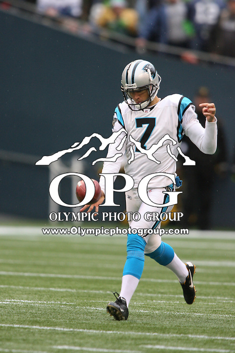 December 05, 2010:  Carolina punter #7 Jason Baker punts the ball to Seattle. Seattle won 31-14 over Carolina at Quest Field in Seattle, WA.