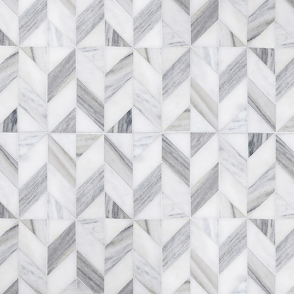 Lancaster Medium, a hand-cut stone mosaic, shown in honed Afyon White and Horizon, is part of the Palazzo collection by New Ravenna.