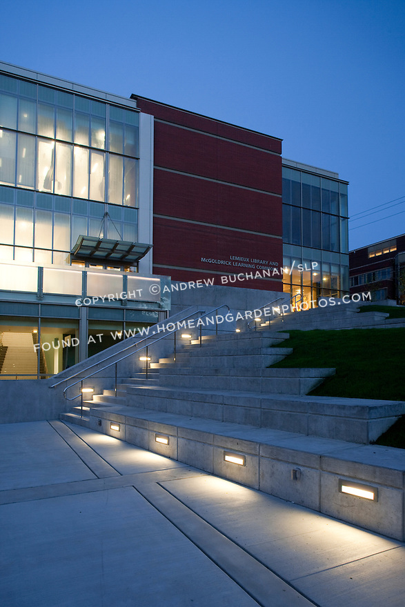 An evening shot of Seattle University's Lemieux Library and McGoldrick Learning Commons