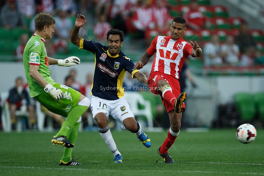 Marco FLORES of the Mariners loses the ball in the round two match between Melbourne Heart and the Central Coast Mariners in the Australian Hyundai A-League 2013-24 season at AAMI Park, Melbourne, Australia.<br /> This image is not for sale. Please visit zumapress.com for image licensing.