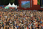 17th June 2018, Luzhniki Stadium, Moscow, Russia; FIFA World Cup Football, Group F, Germany versus Mexico; Fans; supporters exulte after Mexico scores at the FIFA Fan Fest Area at the Moscow State University during the match