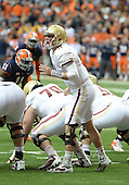 Boston College Eagles quarterback Chase Rettig (11) yells out signals during a game against the Syracuse Orange at the Carrier Dome on November 30, 2013 in Syracuse, New York.  Syracuse defeated Boston College 34-31.  (Copyright Mike Janes Photography)