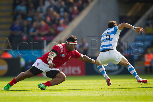04.10.2015. Leicester, England. Rugby World Cup. Argentina versus Tonga. Joaquin Tuculet of Argentina breaks past Halani Aulika of Tonga.
