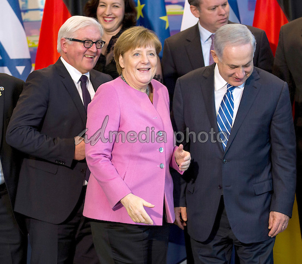German-Israeli government consultations: German Chancellor Merkel welcomes the Israeli Prime Minister Netanyahu at the Federal Chancellery in Berlin. Delegations from Israel and Germany are together here. Credit: Stocki/face to face/AdMedia