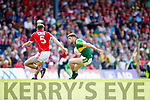 Paul Geaney Kerry in action against Tomas Clancy Cork in the Munster Senior Football Final at Fitzgerald Stadium on Sunday.