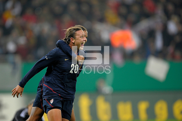 Abby Wambach (20) celebrates her goal with Shannon Boxx. US Women's National Team defeated Germany 1-0 at Impuls Arena in Augsburg, Germany on October 29, 2009.