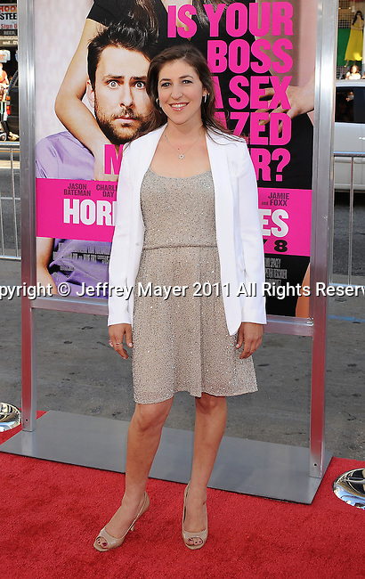 "HOLLYWOOD, CA - JUNE 30: Mayim Bialik arrives at the ""Horrible Bosses"" Los Angeles premiere at Grauman's Chinese Theatre on June 30, 2011 in Hollywood, California."