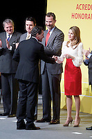 Spain's crown Prince Felipe and Princess Letizia shakes hands with actor Antonio Banderas during a ceremony to designate Spain Brand ambassadors. February 12, 2013. (ALTERPHOTOS/Alvaro Hernandez) /NortePhoto