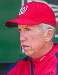 8 June 2013: Washington Nationals Manager Davey Johnson addresses the media in the dugout prior to a game against the Minnesota Twins at Nationals Park in Washington, DC. The Twins edged out the Nationals 4-3 in 11 innings. Mandatory Credit: Ed Wolfstein Photo *** RAW (NEF) Image File Available ***