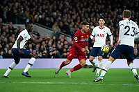 Liverpool's Roberto Firmino vies for possession with Tottenham's Christian Eriksen and Davinson Sanchez <br /> <br /> Photographer Stephanie Meek/CameraSport<br /> <br /> The Premier League - Tottenham Hotspur v Liverpool - Saturday 11th January 2020 - Tottenham Hotspur Stadium - London<br /> <br /> World Copyright © 2020 CameraSport. All rights reserved. 43 Linden Ave. Countesthorpe. Leicester. England. LE8 5PG - Tel: +44 (0) 116 277 4147 - admin@camerasport.com - www.camerasport.com