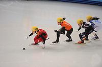 OLYMPICS: SOCHI: Iceberg Skating Palace, 13-02-2014, Shorttrack, Ladies' 500m, Quarterfinals, Quihong Liu (#112 | CHN), Jorien ter Mors (#142 | NED), Alang Kim (#136 | KOR), Sofia Prosvirnova (#150 | RUS), ©photo Martin de Jong