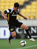 Troy Hearfield keeps the ball in play during the A-League match between Wellington Phoenix and Newcastle Jets at Westpac Stadium, Wellington, New Zealand on Sunday, 4 January 2009. Photo: Dave Lintott / lintottphoto.co.nz