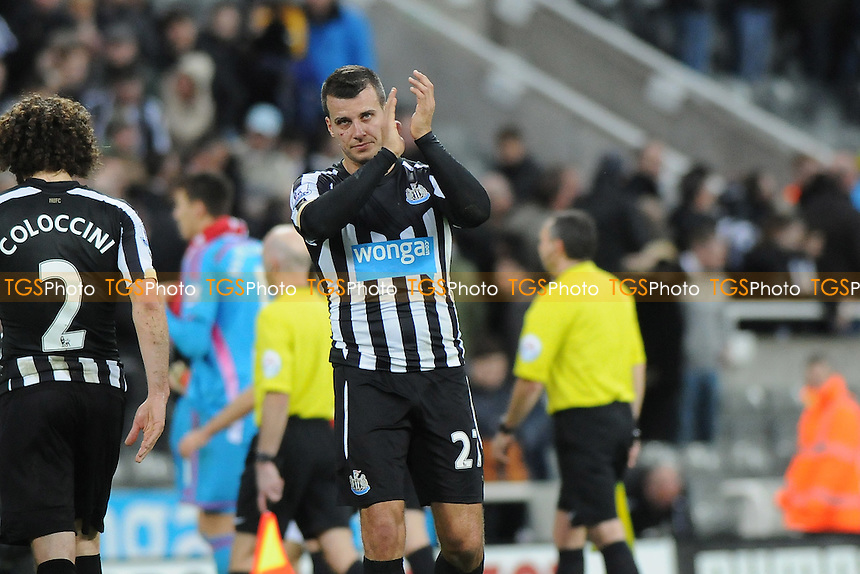 A dejected Steven Taylor of Newcastle United at the final whistle  - Newcastle United vs Sunderland AFC - Barclays Premier League Football at St James Park, Newcastle upon Tyne - 21/12/14 - MANDATORY CREDIT: Steven White/TGSPHOTO - Self billing applies where appropriate - contact@tgsphoto.co.uk - NO UNPAID USE