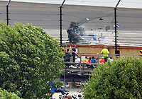 May 28, 2017; Indianapolis, IN, USA; IndyCar Series driver Scott Dixon (9) goes airborne and crashes into the catch fence during the 101st Running of the Indianapolis 500 at Indianapolis Motor Speedway. Mandatory Credit: Mark J. Rebilas-USA TODAY Sports