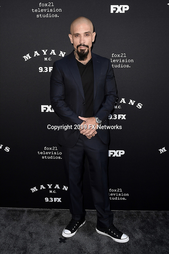 "LOS ANGELES - AUGUST 27: Joseph Lucero attends the season two red carpet premiere of FX's ""Mayans M.C"" at the ArcLight Dome on August 27, 2019 in Los Angeles, California. (Photo by Scott Kirkland/FX/PictureGroup)"