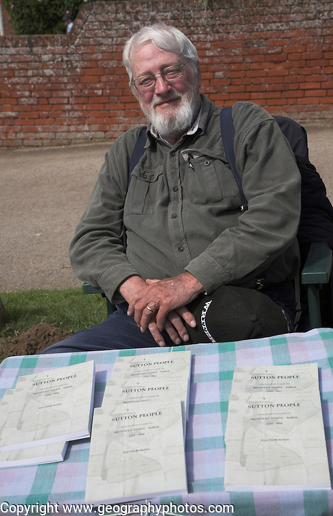 Greville Bickerton author and his book Sutton People, Ramsholt village fete, Suffolk, England