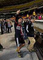 Jamie Moreno (99) of D.C. United walks off the field after his last game at RFK Stadium in Washington, DC.  Toronto defeated D.C. United, 3-2.