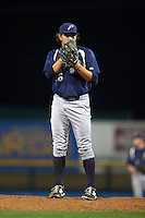 Pensacola Blue Wahoos pitcher Zack Weiss (36) looks in for the sign during a game against the Mississippi Braves on May 28, 2015 at Trustmark Park in Pearl, Mississippi.  Mississippi  defeated Pensacola 4-2.  (Mike Janes/Four Seam Images)