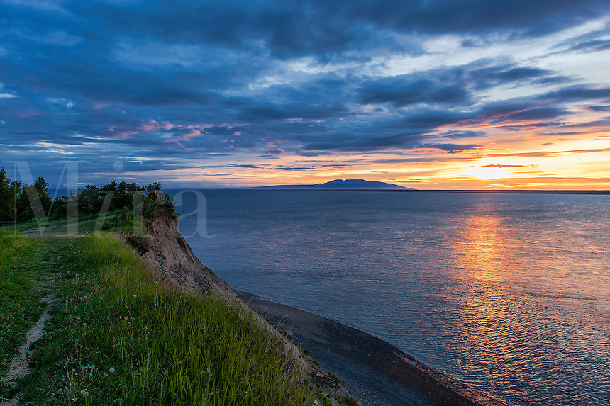 Coastal sunset view from Anchorage, Alaska, USA.