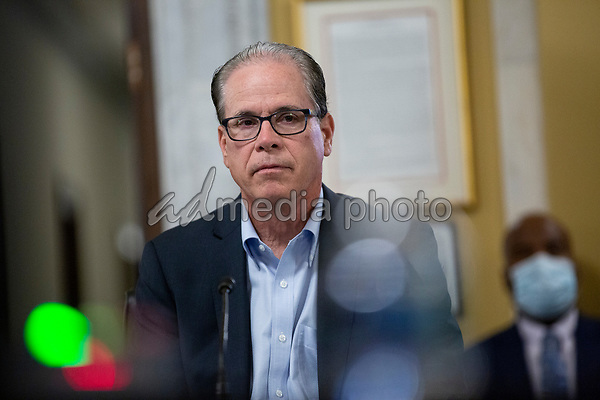 United States Senator Mike Braun (Republican of Indiana) listens during a United States Senate Aging Committee hearing at the United States Capitol in Washington D.C., U.S. on Thursday, May 21, 2020.  Credit: Stefani Reynolds / CNP/AdMedia