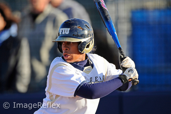 13 February 2010:  FIU's Ashley McClain (2) bats as the FIU Golden Panthers defeated the University of Illinois (Chicago) Flames, 2-1, at the University Park Stadium in Miami, Florida.