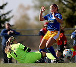 BROOKINGS, SD - OCTOBER 18: Goalie Sierra Bonham #1 from North Dakota State kicks the ball away as Alyssa Brazil #15 from South Dakota State looks to score during their game Sunday afternoon at Fischback Soccer Field in Brookings. (Photo by Dave Eggen/Inertia)